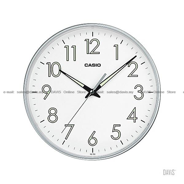 CASIO IQ-150-8 analog wall clock large simple easy reader luminous