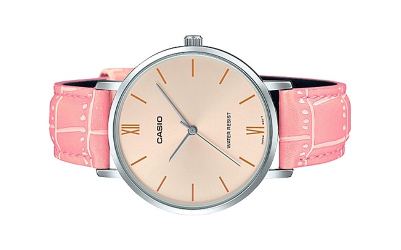 CASIO Ladies Analog Pink Leather Strap Watch LTP-VT01L-4BUDF