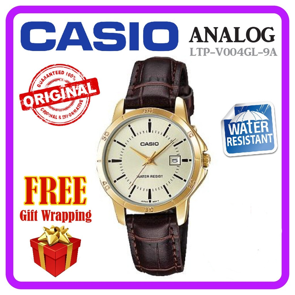 Casio LTP-V004GL-9A Analog Women Ladies Watch Leather Calendar Jam Original