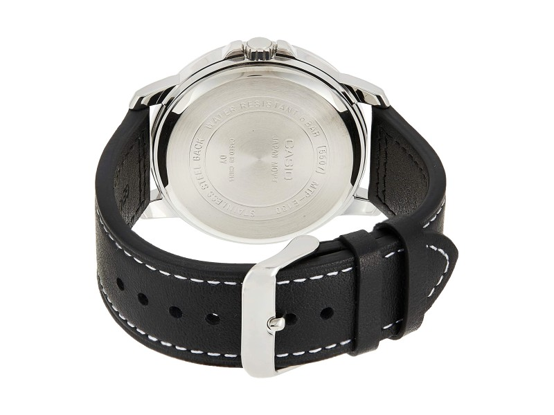 CASIO Men Analog Bold Luminous Black Leather Watch MTP-E130L-2A1VDF