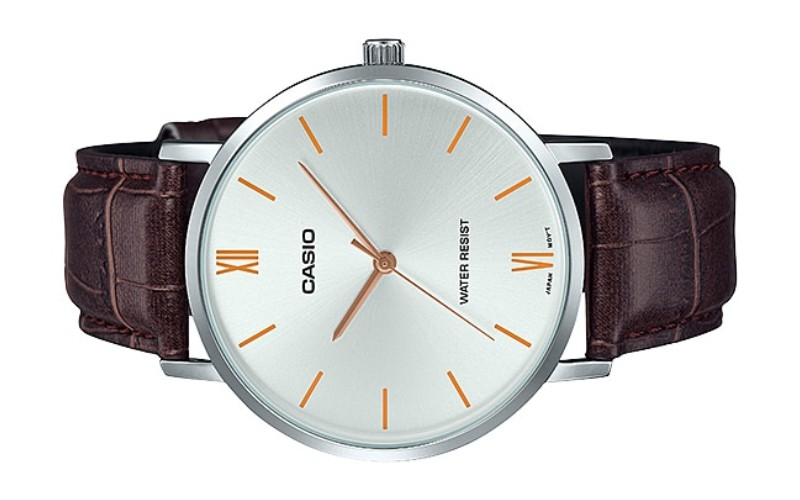 CASIO Men Analog Leather Strap Watch MTP-VT01L-7B2UDF