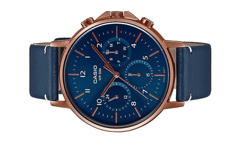 CASIO Men Multi Hands Blue Leather Strap Watch MTP-E321RL-2AVDF