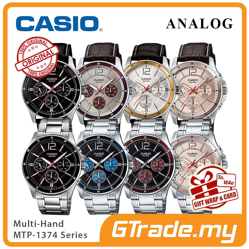 CASIO Men Watch Gentleman Multi-Hand Jam Casio Ori Lelaki MTP-1374