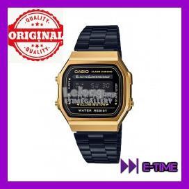 a4ce8b55ec6 CASIO ORIGINAL A168WEGB-1B VINTAGE CLASSIC BLACK GOLD DIGITAL WATCH. ‹ ›