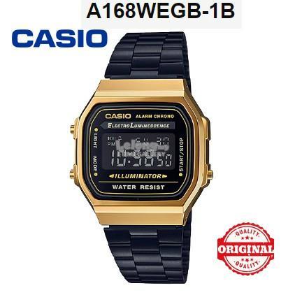 27cf9186d42 CASIO ORIGINAL A168WEGB-1B VINTAGE CLASSIC BLACK GOLD DIGITAL WATCH