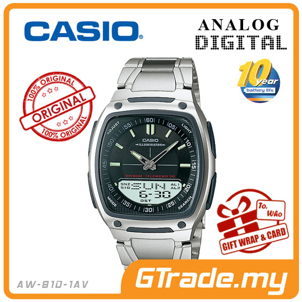 CASIO STANDARD AW-81D-1AV Analog Digital Watch | Wolrd Time 10Yrs Batt