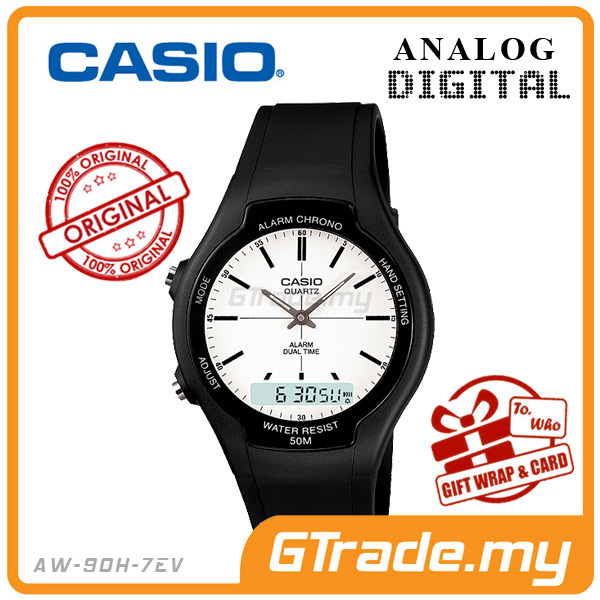 CASIO STANDARD AW-90H-7EV Analog Digital Watch | Dual Time 50m WR