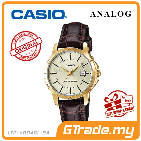 CASIO STANDARD LTP-V004GL-9AV Analog Ladies Watch | Gold Leather