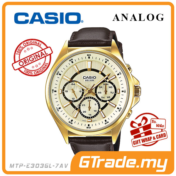 CASIO STANDARD MTP-E303GL-7AV Analog Mens Watch Day Date 24Hrs Display