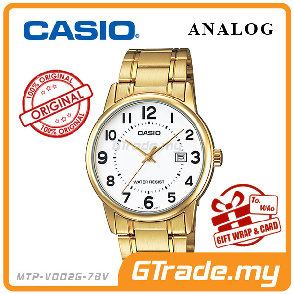 CASIO STANDARD MTP-V002G-7BV Analog Mens Watch | Date Display WR