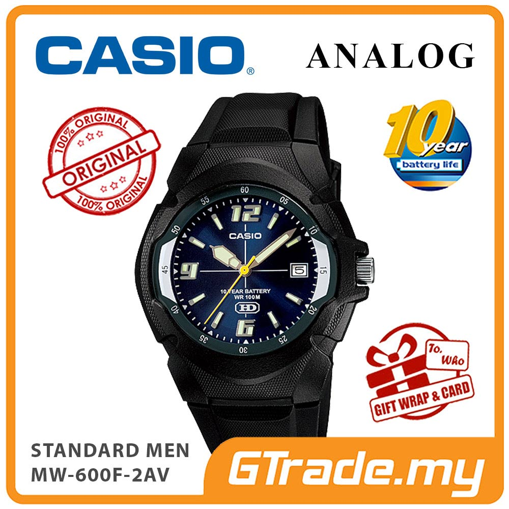 CASIO STANDARD MW-600F-2AV Analog Mens Watch | Resin 10 Yrs Batt.