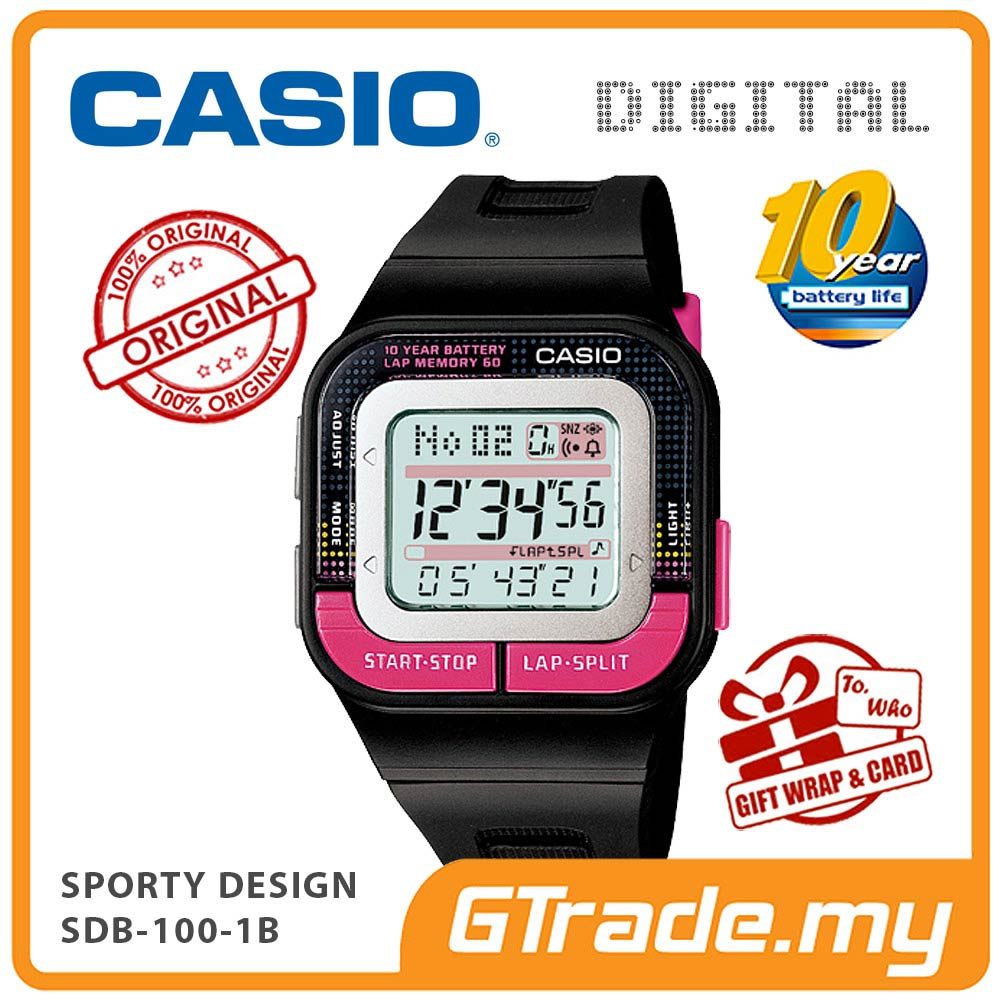 CASIO STANDARD SDB-100-1B Digital Watch | Sporty Look 10 Years Batt.