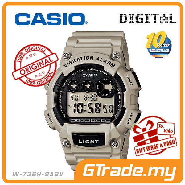 CASIO STANDARD W-735H-8A2V Digital Watch | 10Y Batt. Vibrate Alarm