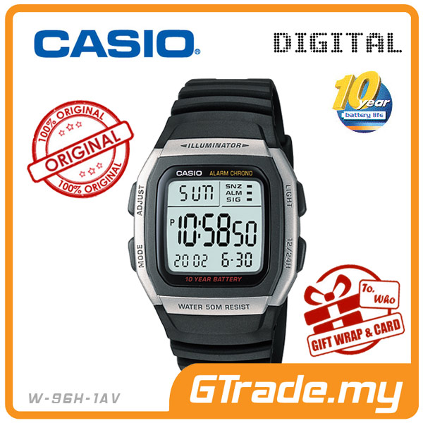 CASIO STANDARD W-96H-1AV Digital Watch | Classic Green LED 10Y Batt.