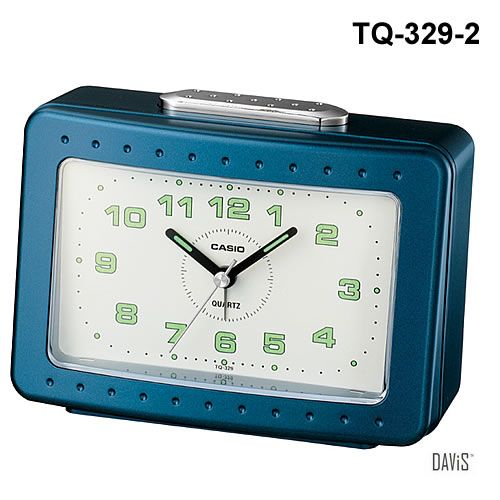 CASIO TQ-329-2 bedside alarm w/ snooze luminous marks clock blue