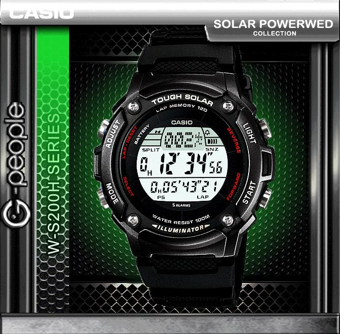 CASIO W-S200H-1B SOLAR POWERED WATCH ☑ORIGINAL☑