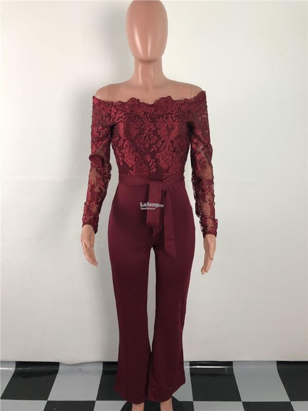 0e7e2f684e0 Casual lady water soluble lace word collar wide leg jumpsuit