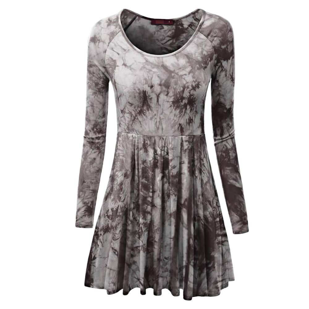aebe5d9b4654d CASUAL LONG SLEEVE ROUND COLLAR FLORAL PRINT WOMEN DRESS (BROWN, SIZE S/M.  ‹ ›