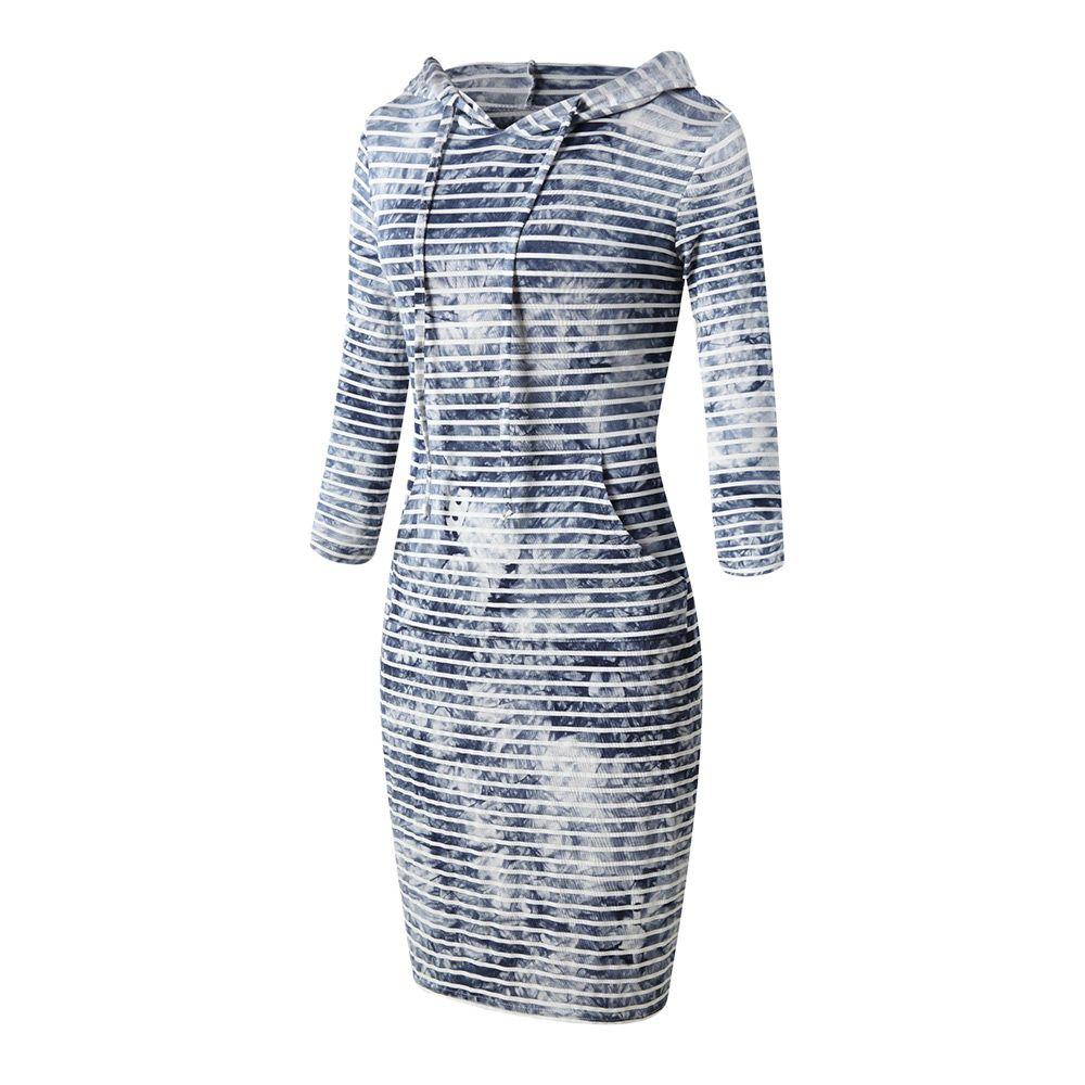 8e079d4d46f9 CASUAL LONG SLEEVE HOODED STRIPE TIE-DYE WOMEN DRESS (LIGHT BLUE, SIZE S. ‹  ›