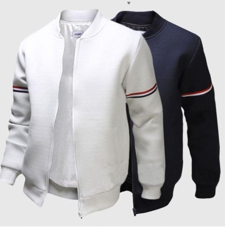 db684def2188 Casual Ribbon Decoration Slim Fit Men s Stand Collar Jacket. ‹ ›