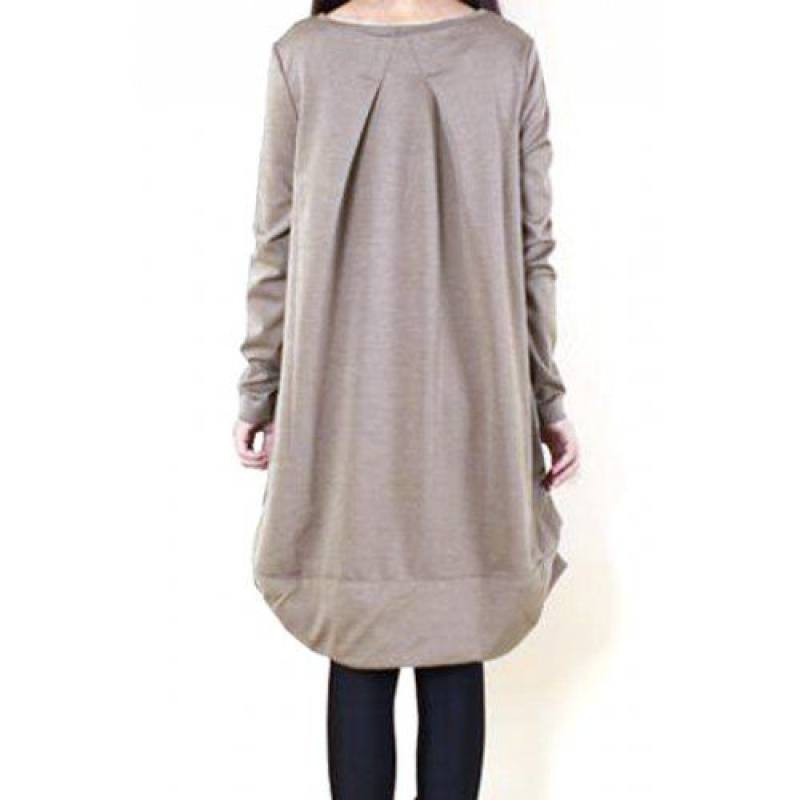 CASUAL SCOOP NECK LONG SLEEVES SOLID COLOR PLEATED DRESS FOR WOMEN