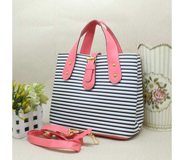 Casual Stripe Handbag -BTC3666LRED