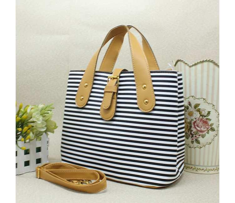 Casual Stripe Handbag -BTC3666YE