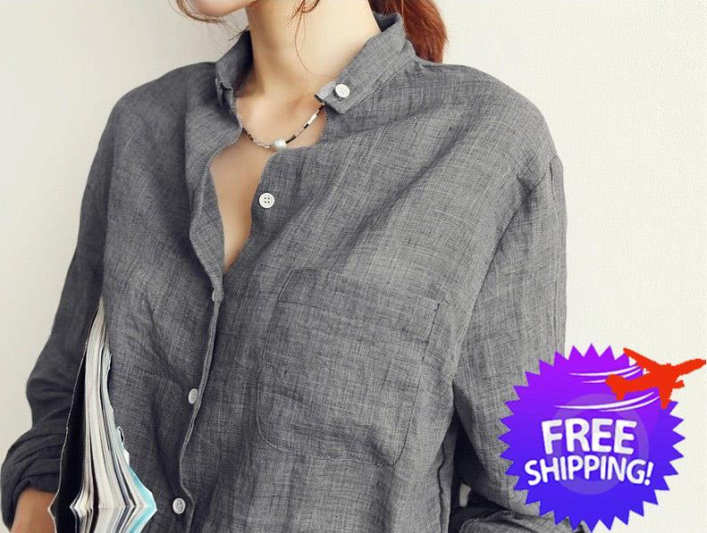 enjoy free shipping famous designer brand popular stores Casual Women Lady Long Sleeve Cotton Linen Blouse Shirt