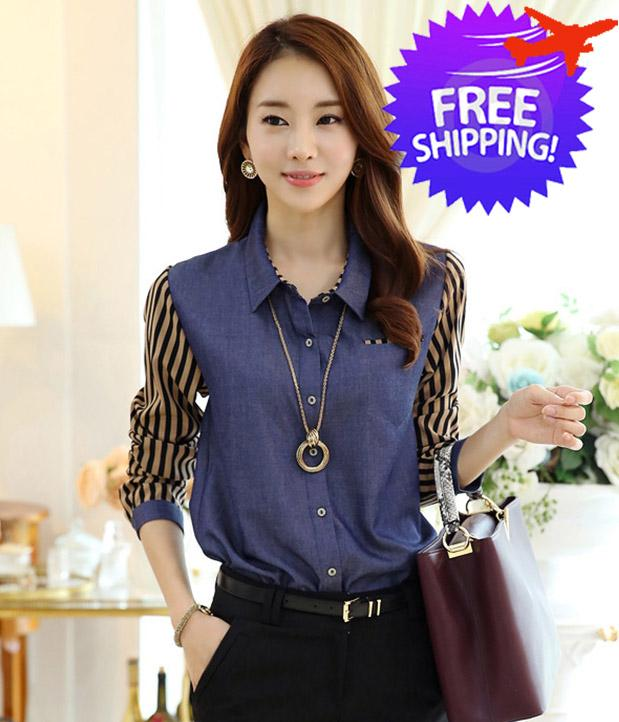 603b66558f Casual Women Lady Long Sleeve Denim Patchwork Striped Blouse Shirt. ‹ ›