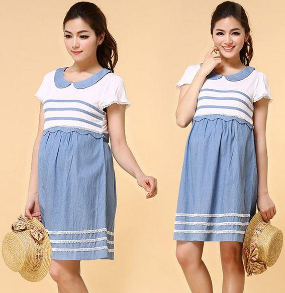 a3b7f4fa149 Casual Work like student Blue Pregnancy Clothes Maternity Dress. ‹ ›