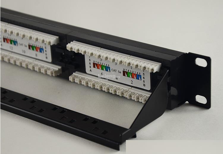 CAT 5e RJ45 1u Patch Panel 24 Port Rear Cable Management S169