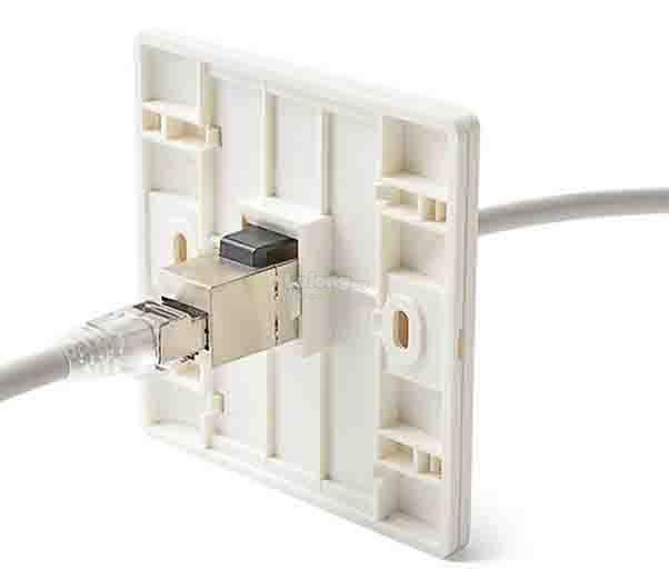 Cat6 with Shielded Keystone Single Port Degree Faceplate (S575)