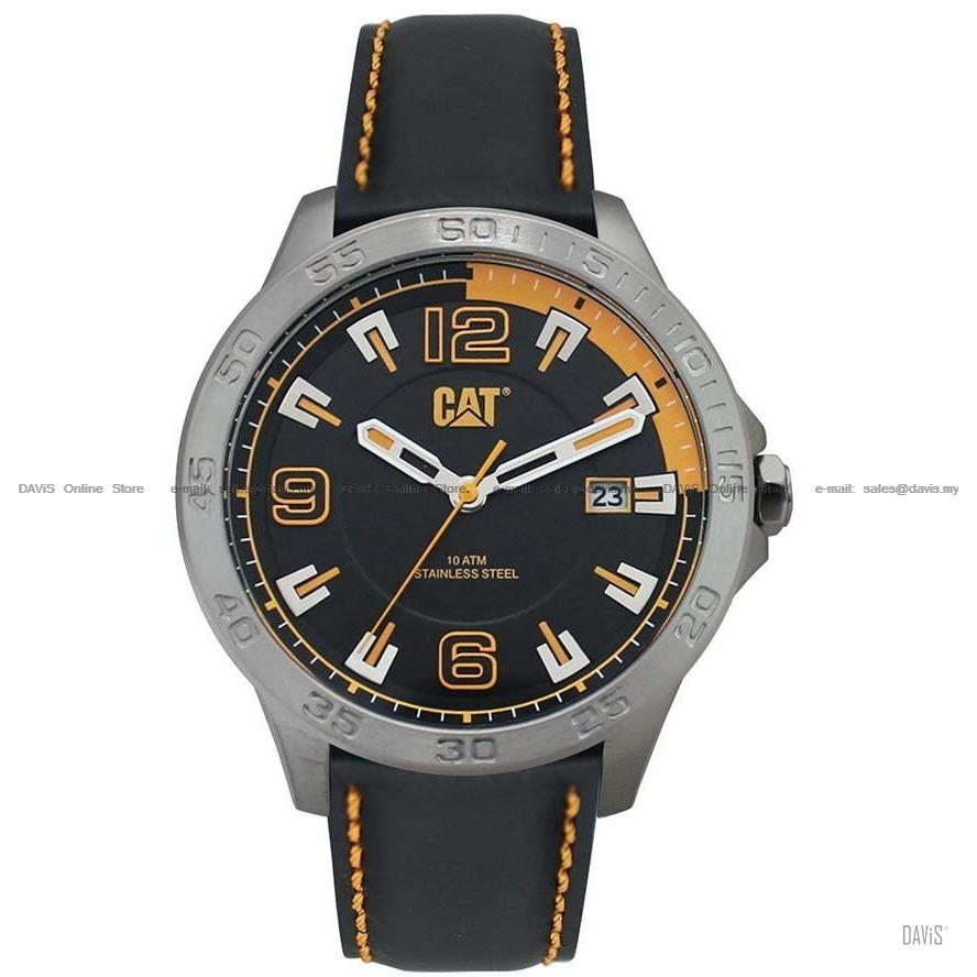 Caterpillar CAT Watches AD.141.34.127 BOSTON Date Leather Strap Black