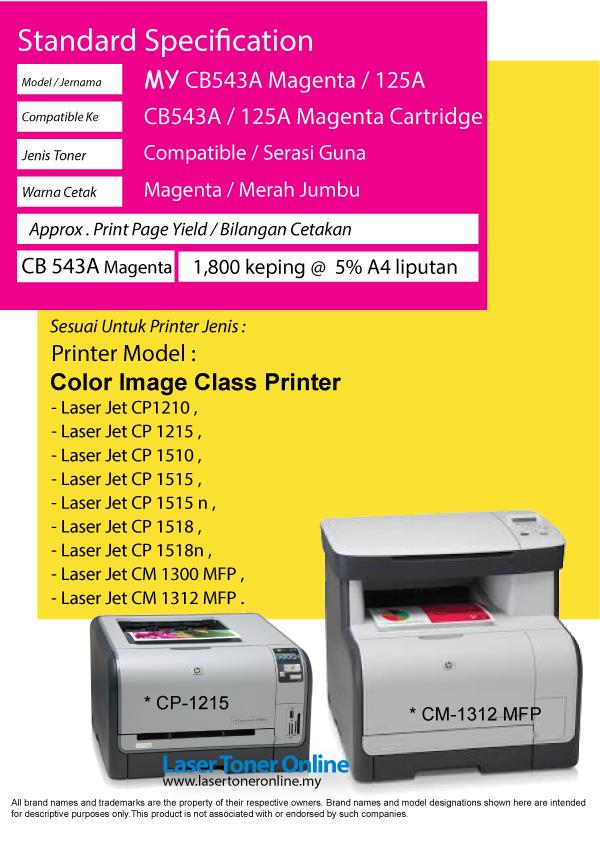 CB543A/125A 125 Color M Compatible-HP Laser Jet CP1215 CP1515n CP1518n