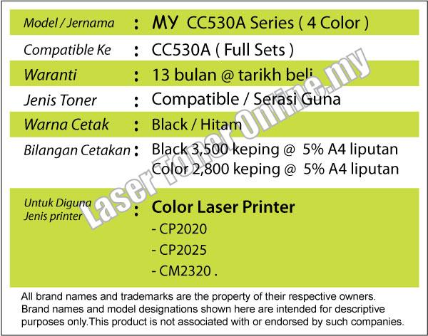 CC530A CC531A CC532A CC533A Compatible@HP Laser Jet CM2320 Black+Color