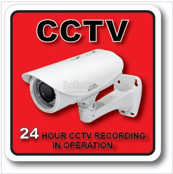 CCTV 24 HOUR CCTV RECORDING ACRYLIC SIGN 110x110mm
