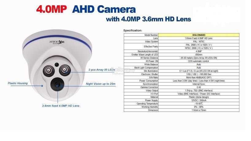 CCTV Package : 4 CHANNEL (5 in 1) Decoder 4.0MP AHD