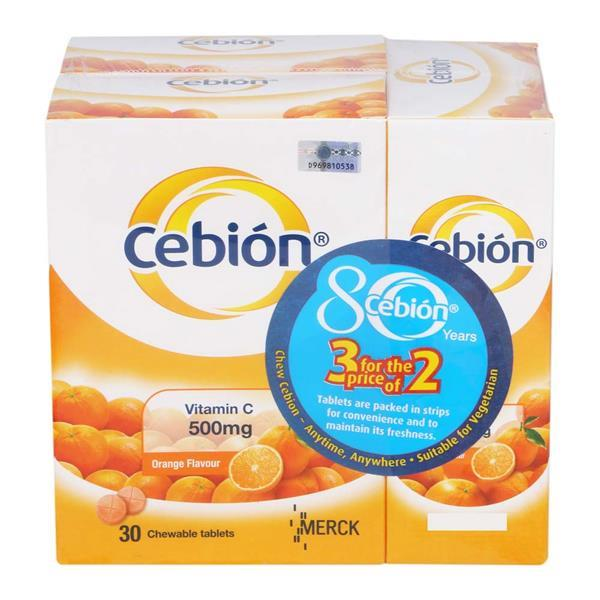 Cebion Chewable Vitamin C 500mg 3 x 30s