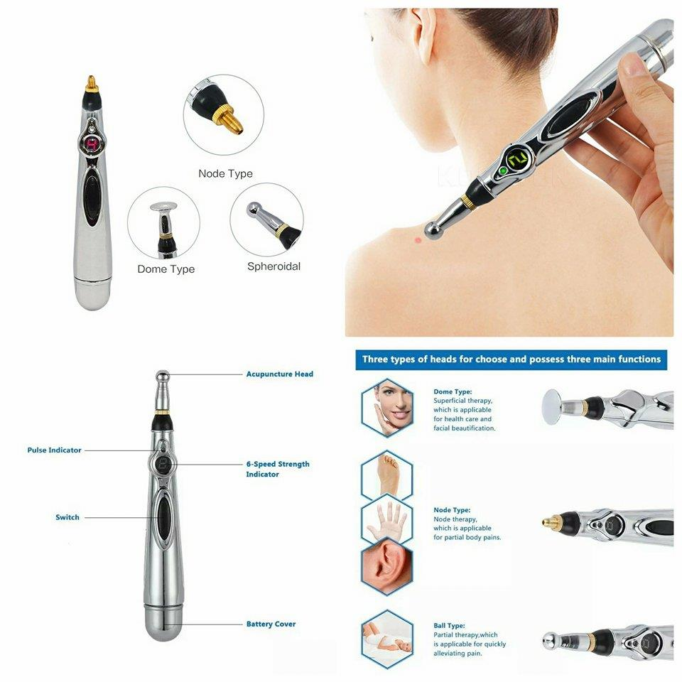 CELLY Automatic Electric Body Acupuncture Massage Pen with Replacement