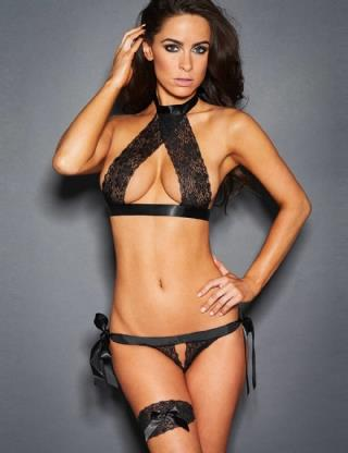 CELLY Black Lace Erotic Crotchless Bra Set