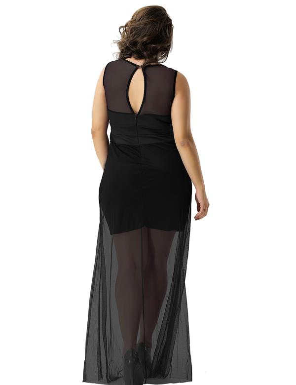CELLY Black Sleeveless Short Dress with Floor Length (CSOH R70235-1P)