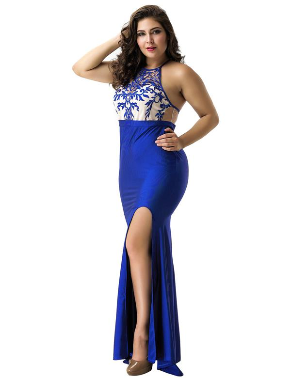 CELLY Blue Embroidery Elegant Slit Evening Dress (CSOH V1011-3P)