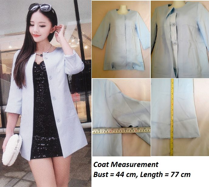 **CELLY**    Imported Button-Up Coat (Blue)