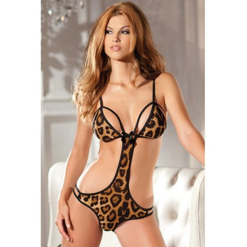 **CELLY**   Imported Leopard Print Cut Out Teddy Lingerie