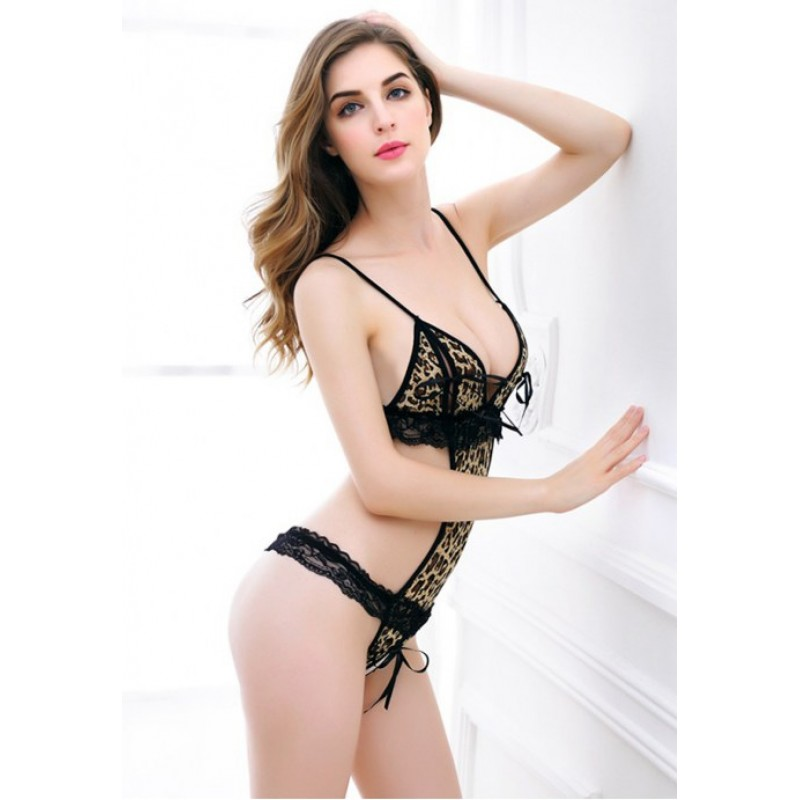 **CELLY**   Imported Sexy Leopard Print Lace Teddy