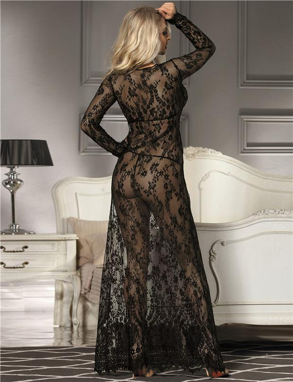 CELLY  (M-3XL) Black Delicate Lace Long Sleepwear Gown (CSOH R80497-1)