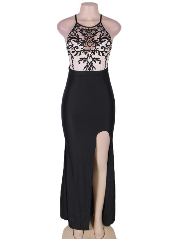 CELLY Plus Size Black Embroidery Halter Evening Gown (CSOH V1011-1P)