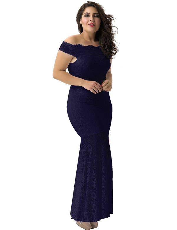 CELLY Plus Size Dark Blue Lace Elegant Party Gown (CSOH V1073-1P)