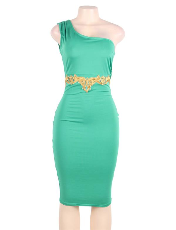 CELLY Plus Size Delicate Green One-shoulder Bodycon (CSOH R80484P)