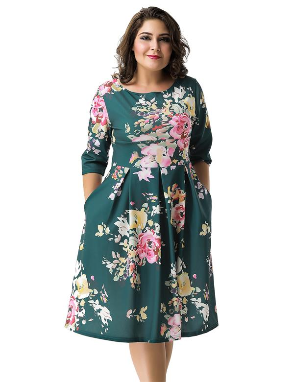 CELLY Plus Size Green Printing Fashion Dress (CSOH R80508-2P)